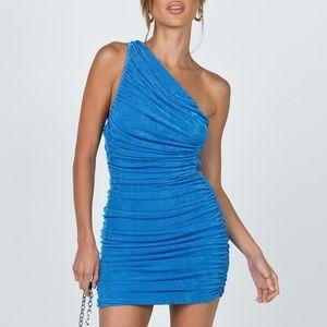 """The Jordyn"" Blue One Shoulder Mini Dress"